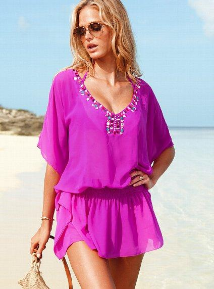 Embellished Beach Coverups - Caftan Coverups with Crystal & Stones