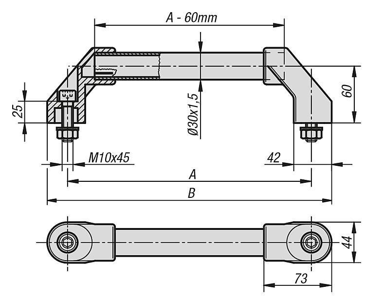 Poignée tubulaire - Poignées de manutention, poignées tubulaires et poignées alcôve