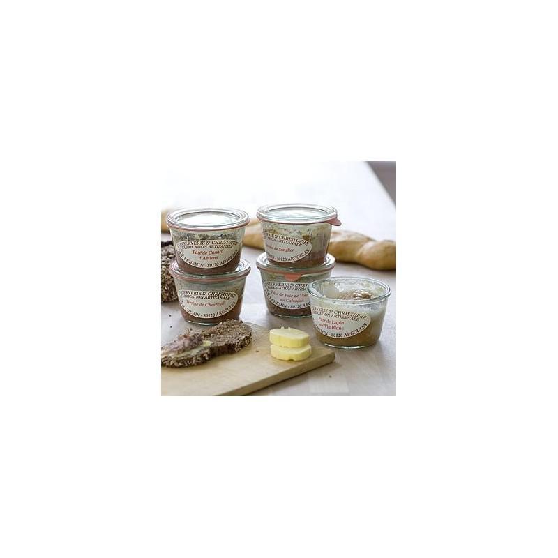 6 Bocaux en verre Weck Droit 370 ml  - avec couvercles en verre et joints (clips non inclus)