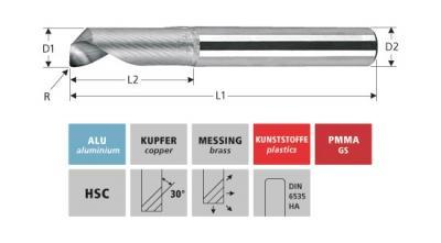 Milling Tools: for aluminium - sc toric end mill, Z=1
