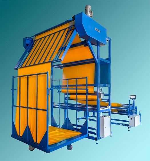 перемоточная машина для укладки материала в стопку - машина перематывает рулоны ткани в стопку высотой 2000 мм