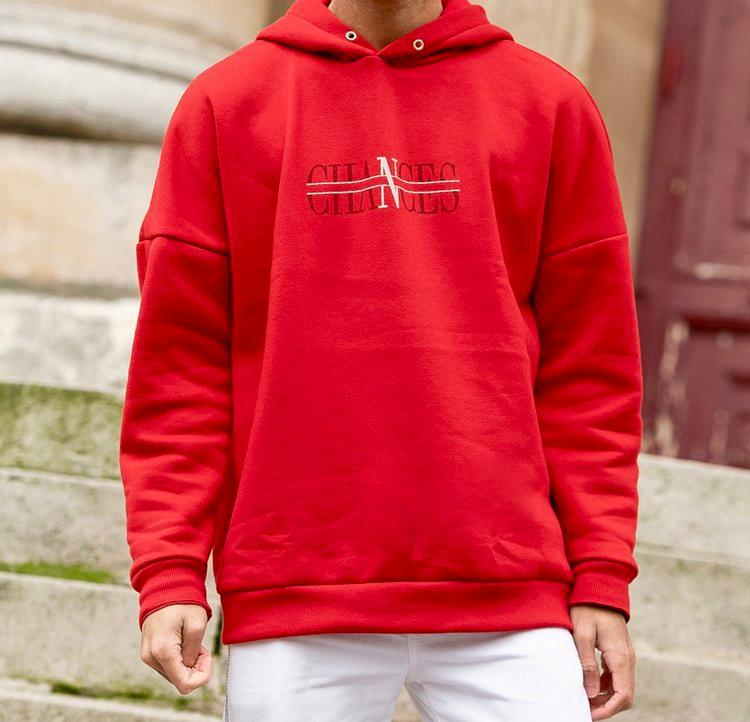 "SWEATSHIRT ROUGE ""CHANCES"" - Prêt-à-porter"