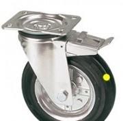 Roulettes pivotantes plus frein roue jante acier bandage antistatique - null