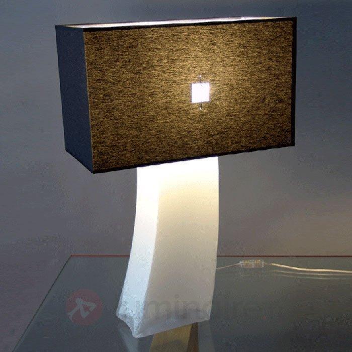 Lampe à poser noire JANINA avec cristal opale - Lampes à poser en tissu
