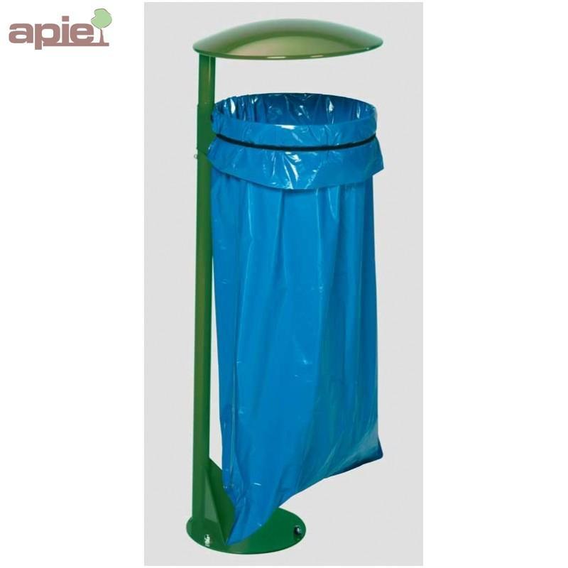 Support sac poubelle avec poteau sur platine - Tri sélectif / CHAPEAU MÉTAL