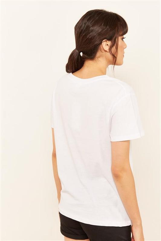 Woman White Stone And Printed T-shirt - Women's T-Shirt