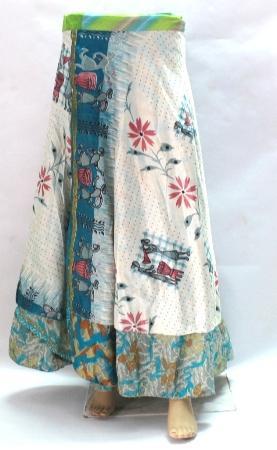 Beach Wear Vintage Silk Saree Magic Long Length Wrap Skirt