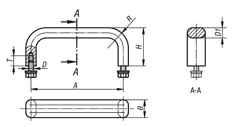 Poignée de manutention en Inox - Poignées de manutention, poignées tubulaires et poignées alcôve