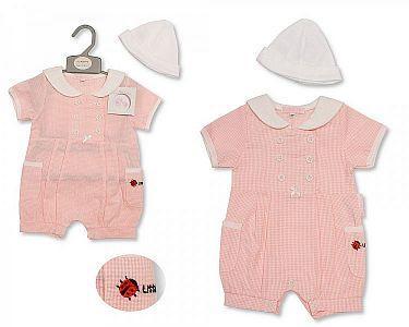 Baby Girls Romper with Hat - Ladybird  -