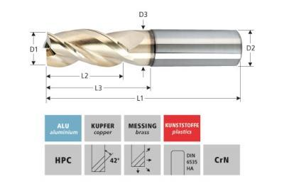 Milling Tools: for aluminium - sc hpc end mill, with triple flute, high end