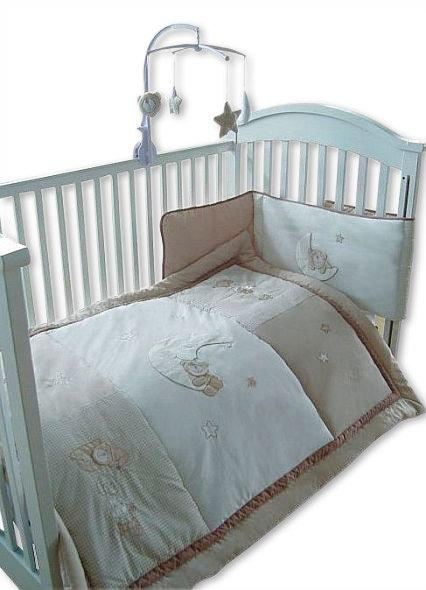 4 pcs Baby Cot/ Cot-Bed Set with Mobile - Cream - Bedding Sets