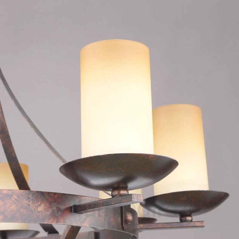 Couronne lumineuse rustique Luke brun rouille - Lustres rustiques