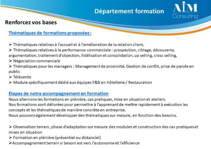 Formation - Formation professionnelle Manageriale ou commerciale