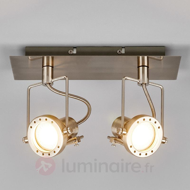 Spot LED Agidio à 2 lampes, nickel satiné - Plafonniers LED