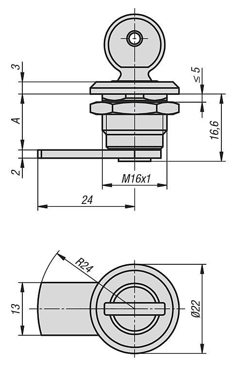 Verrou quart de tour compact fermant à clé - Verrou quart de tour