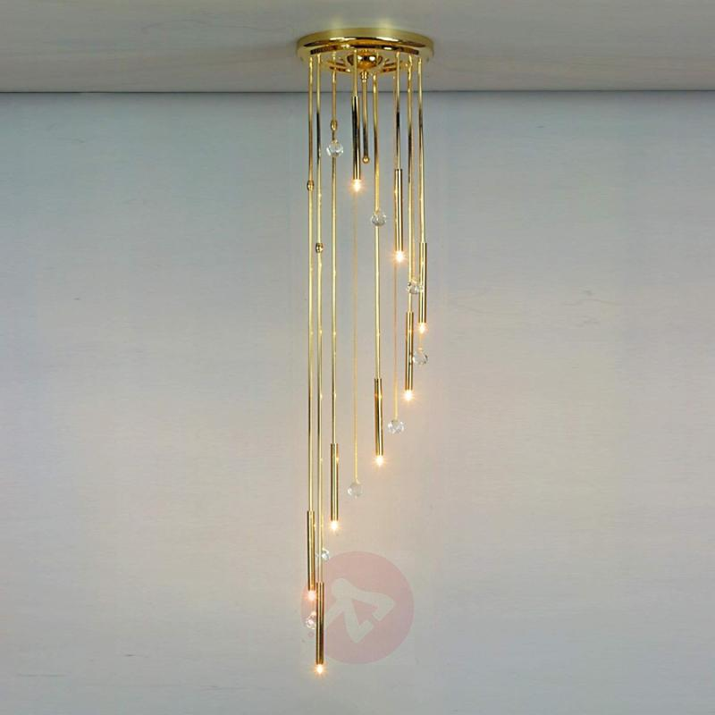 Spirale Ceiling Light Eight Bulbs Gold - design-hotel-lighting