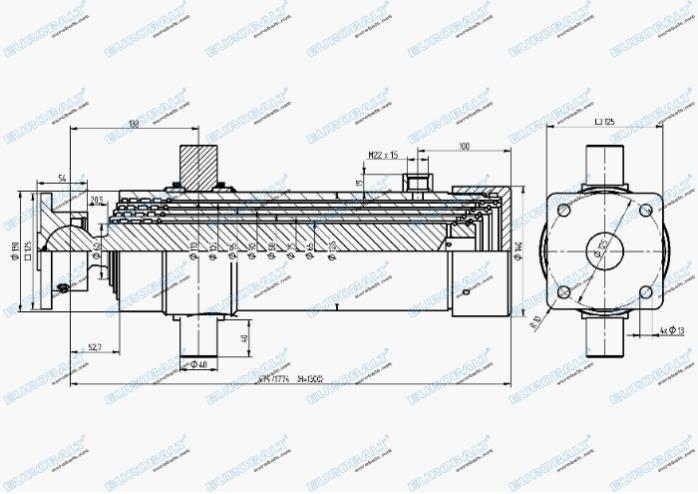 Telescopic four-stage cylinder (piston stroke:1300 mm) - Telescopic four-stage cylinder HC000915