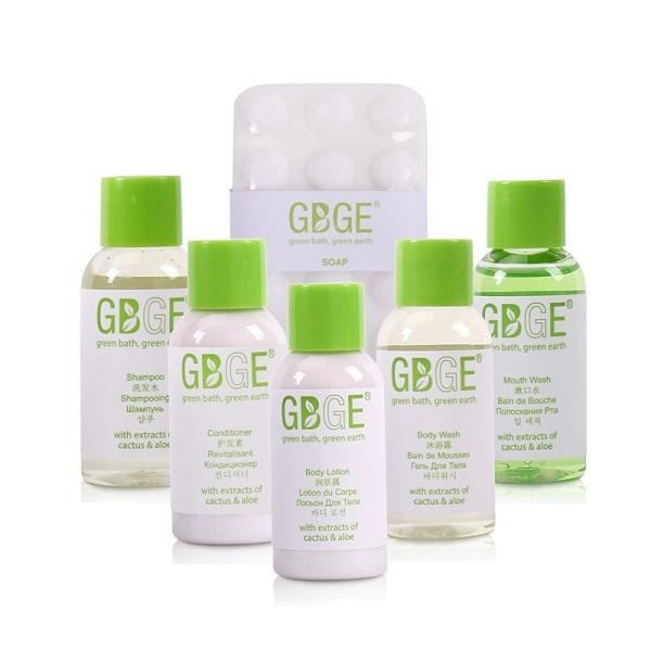 GBGE Classic Clear Hotel Amenities Collection - eco-friendly hotel bath amenity with natural cactus extracts and aloe extracts