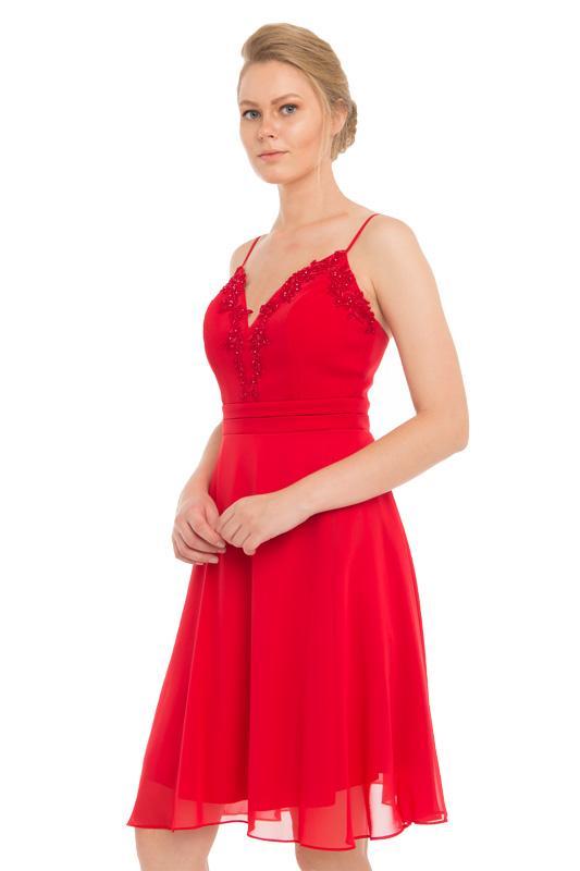 3b99e66a23411 Pierre Cardin Kırmızı Tüllü Askılı Kısa Abiye Elbise - %100 Polyester, Tül,  ...