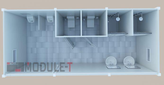 Conteneur Sanitaire - Conteneur de chantier Sanitaire, wc , douche pour chantier. En kit