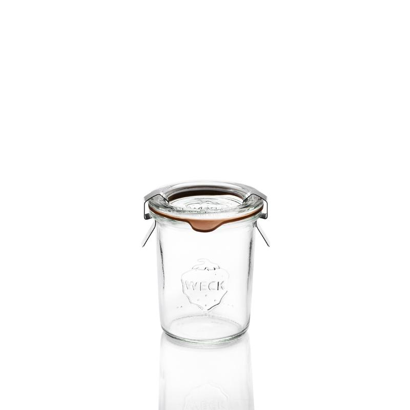 12 tarros en vidrio Weck Derecho 160 ml  - con tapas en vidrio y gomas (clips no incluidos)