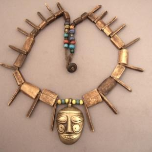 Colliers - Bronze, os, pâtes de verre, 2 petites perles de cristal, Ind
