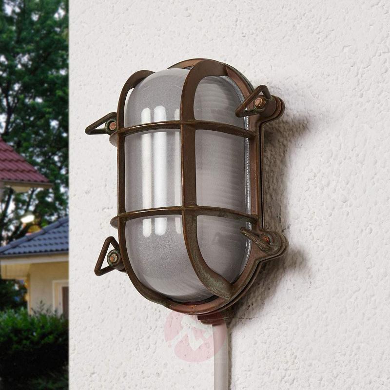 Oval outdoor wall light Bengt antique brass - Outdoor Wall Lights
