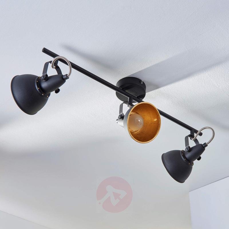 3-bulb ceiling light Julin, black and gold - indoor-lighting
