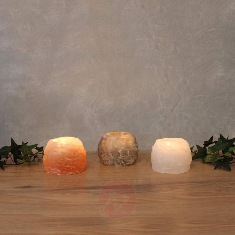 Rock Trio tea light holder set, salt crystal - null