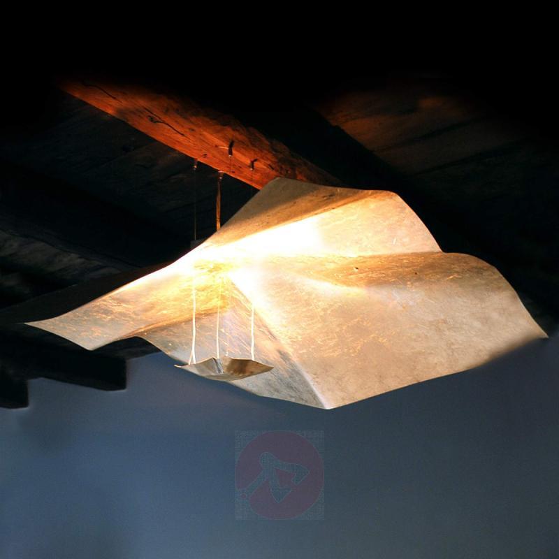 Gold leaf covered hanging light Crash 150 cm - design-hotel-lighting