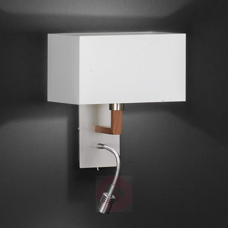 White textile wall lamp Casta with reading light - design-hotel-lighting