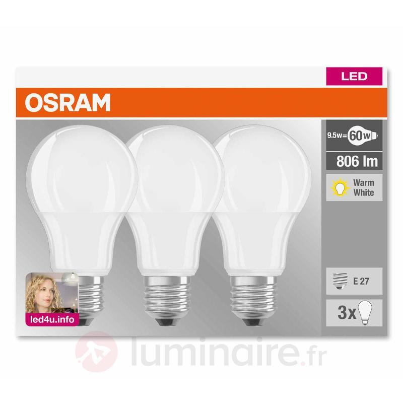 Ampoule LED E27 9 W 827, mate, kit de 3 - Ampoules LED E27