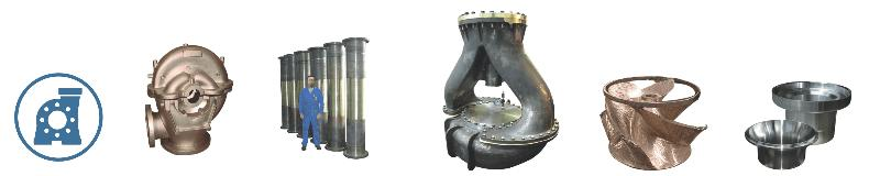 Pump housing, runner, liner, sealing, cover... - Rough or fully machined centrifugal & sand castings for for pumps