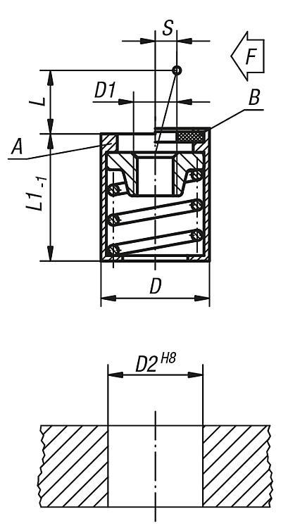Poussoir latéral sans ergot - Poussoirs latéraux à ressort