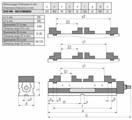 Version DUO 90 MECHANISCH - Zum Spannen von 2 gleichen Teilen, horizontal einsetzbar