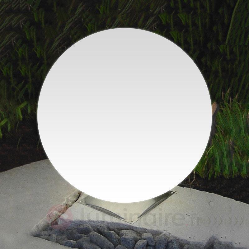 Boule lumineuse Snowball blanche avec pied en inox - Lampes décoratives d'extérieur