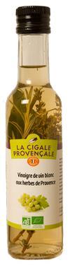 Vinaigre de Vin Vieux Blanc Biologique aux Herbes de Provence - 6 % d'acidité La Cigale Provençale