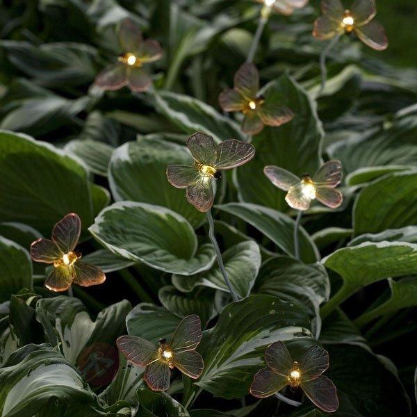 lampe solaire ASSISI 5 papillons sur un pied - Lampes solaires décoratives