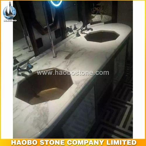 Beautiful Carrara White Marble Vanity Tops With Octagon Sink - Countertop,Vanity Top