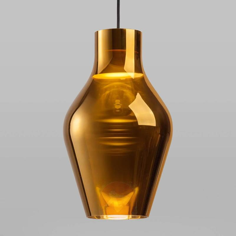 Gold-coloured LED pendant lamp Blow made of glass - Pendant Lighting
