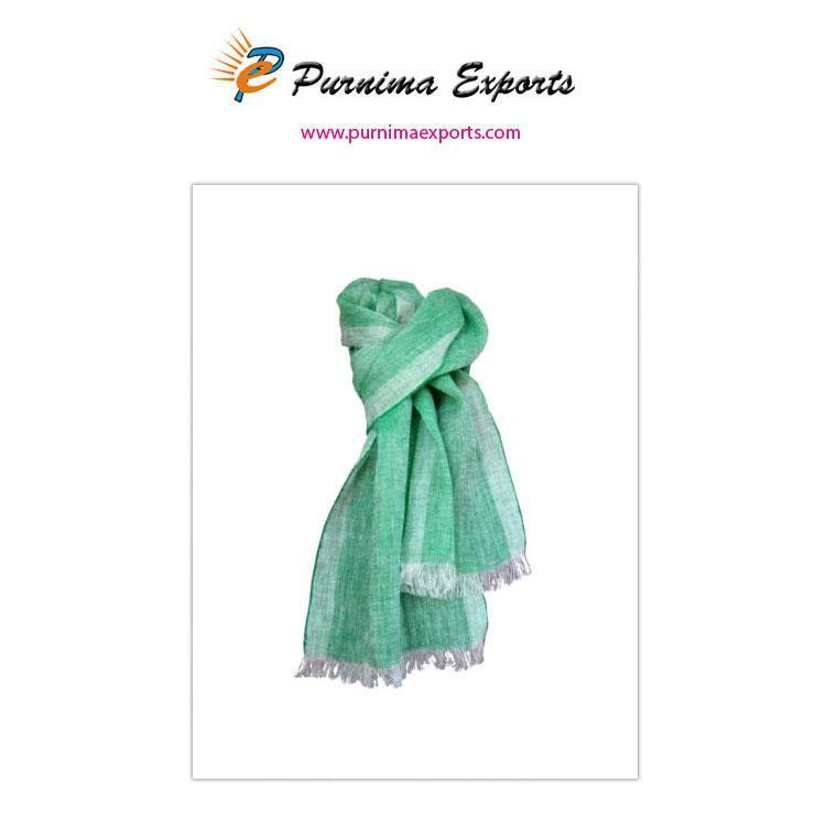 Foulard en lin bleu-vert -