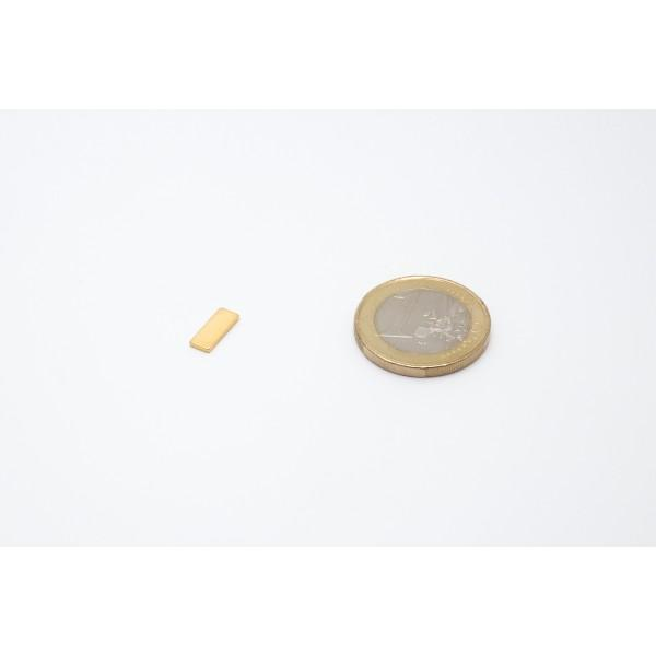 Block magnet, Neodymium, 10x4x1mm, N50, Ni-Cu-Au, gold... - null