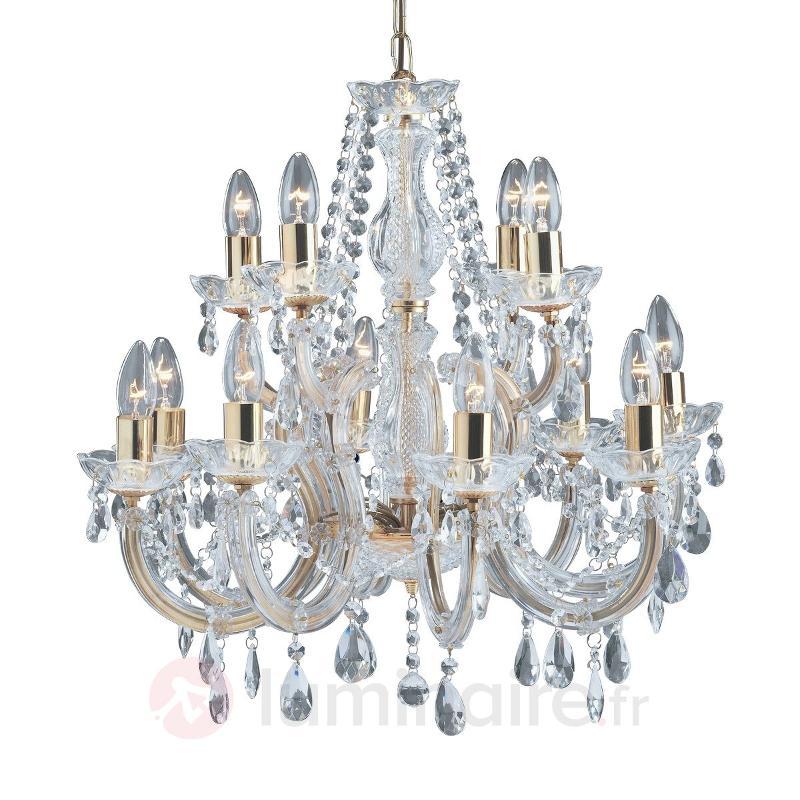 Lustre à 12 lampes MARIE THERESE aspect laiton - Lustres en cristal