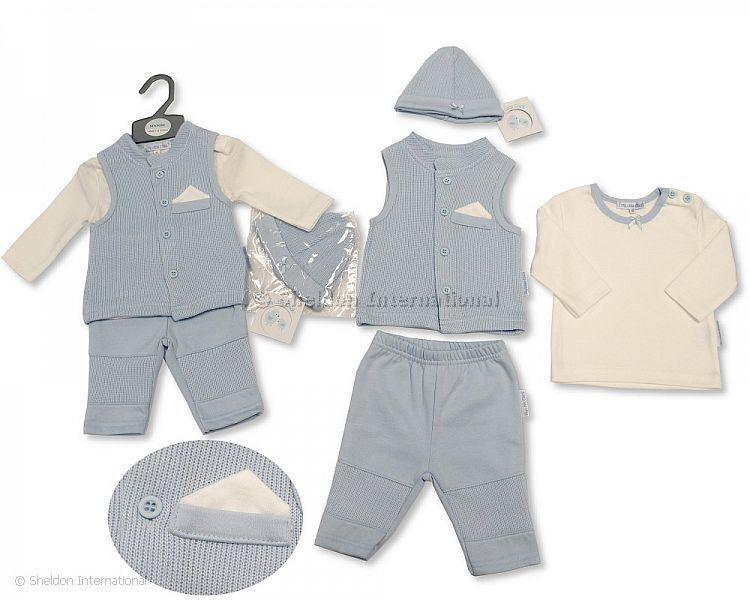 Baby Boys Ribbed 3 pcs Gilet Set with Hat - Infant Sets - Winter