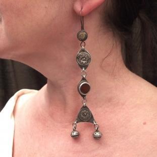 Boucles d'oreilles - Argent, vermeil, cornalines, Turkménistan