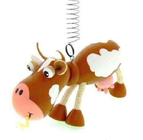 Figurita de madera Vaca con Muelle