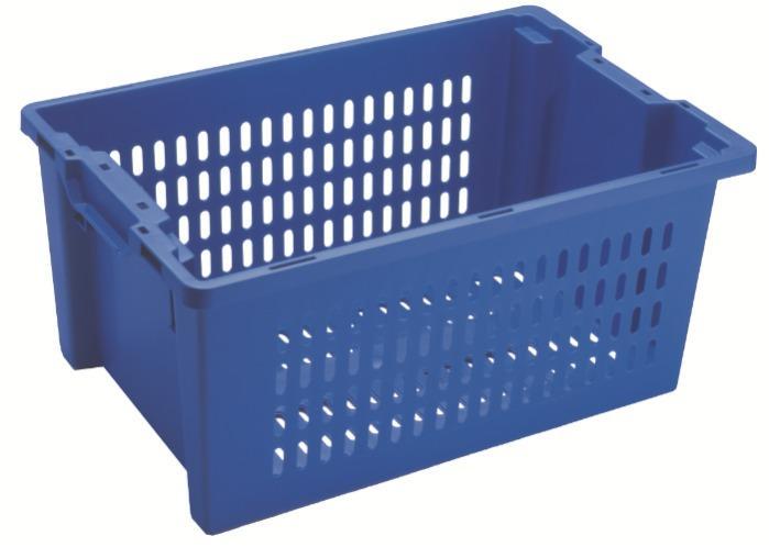 Contenitore in plastica inserible e sovrapponibile  - senza apertura nelle maniglie, 50L (chiuso  e /o forate)