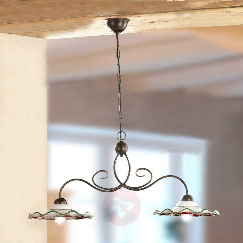 ROSOLACCI hanging light with ceramic shades 2-bulb - Pendant Lighting