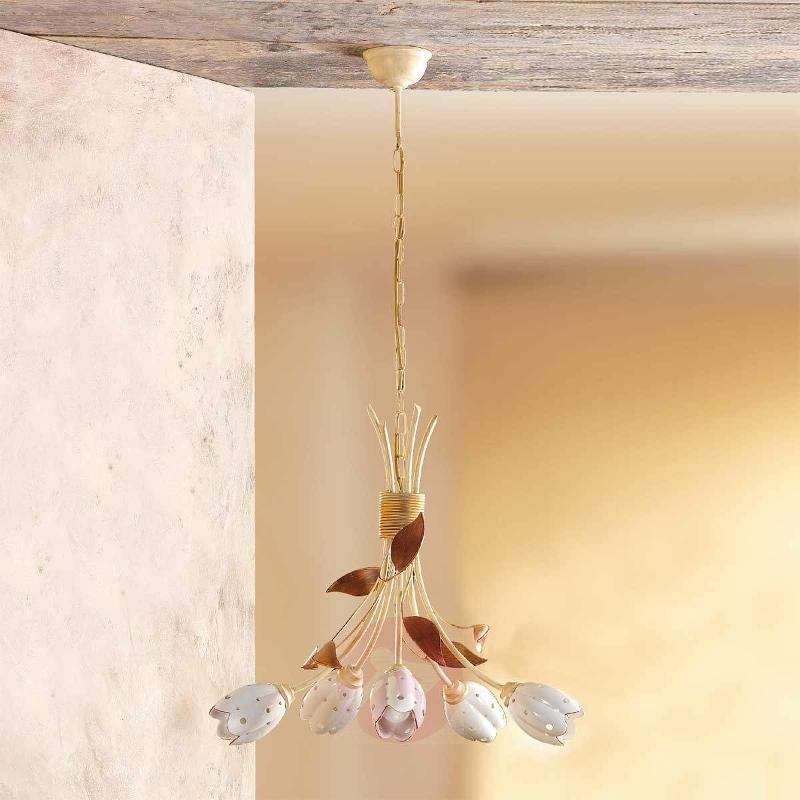 5-bulb floral TULIPANO hanging light - Pendant Lighting