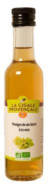 Vinaigre de Vin Vieux Blanc Biologique aromatisé Noix  - 6 % d'acidité La Cigale Provençale